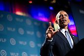 """United States President Barack Obama speaks at the Democratic National Committee's (DNC) annual Women's Leadership Forum in Washington, D.C., U.S., on Friday, September 19, 2014. Speaking at an event today at the White House, President Obama rolled out the """"It's On Us"""" campaign to encourage college students, especially men, to speak out against and prevent sexual assault on campuses.<br /> Credit: Andrew Harrer / Pool via CNP"""