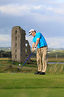 Michael O'Kelly (Limerick) on the 13th tee during Round 2 of The South of Ireland in Lahinch Golf Club on Sunday 27th July 2014.<br /> Picture:  Thos Caffrey / www.golffile.ie