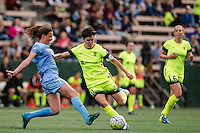 Seattle, WA - Sunday, May 22, 2016: Seattle Reign FC midfielder Keelin Winters (11) is defended by Chicago Red Stars midfielder Taylor Comeau (7) during a regular season National Women's Soccer League (NWSL) match at Memorial Stadium. Chicago Red Stars won 2-1.