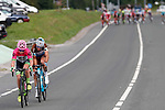 Michael Woods (CAN) EF-Drapac-Cannondale and Alexandre Geniez (FRA) AG2R-La Mondiale from the breakaway group during Stage 17 of the La Vuelta 2018, running 157km from Getxo to Balcón de Bizkaia, Spain. 12th September 2018.                   <br /> Picture: Unipublic/Photogomezsport | Cyclefile<br /> <br /> <br /> All photos usage must carry mandatory copyright credit (© Cyclefile | Unipublic/Photogomezsport)