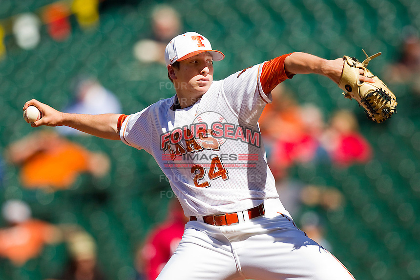 Relief pitcher Parker French #24 of the Texas Longhorns in action against the Arkansas Razorbacks at Minute Maid Park on March 4, 2012 in Houston, Texas.  The Razorbacks defeated the Longhorns 7-3.  Brian Westerholt / Four Seam Images