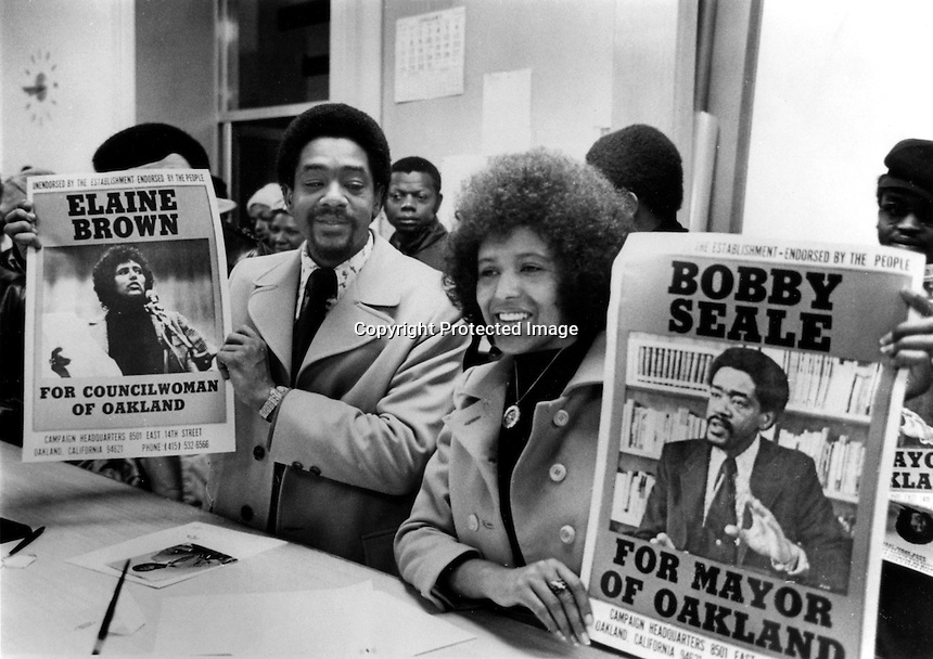 Former Black Panther Bobby Seale and Elaine Brown.running for Mayor and City Council in the city of Oakland, Ca (1973 photo by Ron Riesterer)