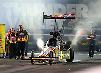 Jun 19, 2015; Bristol, TN, USA; NHRA top fuel driver Leah Pritchett during qualifying for the Thunder Valley Nationals at Bristol Dragway. Mandatory Credit: Mark J. Rebilas-