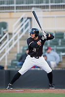 Brandon Dulin (31) of the Kannapolis Intimidators at bat against the Lakewood BlueClaws at Kannapolis Intimidators Stadium on April 6, 2017 in Kannapolis, North Carolina.  The BlueClaws defeated the Intimidators 7-5.  (Brian Westerholt/Four Seam Images)