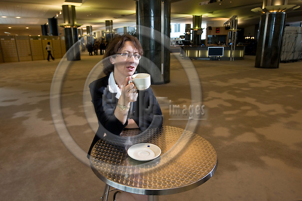 BRUSSELS - BELGIUM - 21 JUNE 2010 -- One year as a MEP,  MEP Sari Miriam ESSAYAH, Group of the European People's Party (Christian Democrats). Her favorite drink is cafe-latte. -- PHOTO: Juha ROININEN / EUP-IMAGES