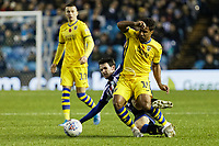 (L-R) Kieran Lee of Sheffield Wednesday challenges Wayne Routledge of Swansea City during the Sky Bet Championship match between Sheffield Wednesday and Swansea City at Hillsborough Stadium, Sheffield, England, UK. Saturday 09 November 2019