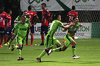 BOGOTA - COLOMBIA - 21 - 10 - 2017: Mauricio Restrepo  jugador de La Equidad celebra su gol contra el Independiente Medellín, durante partido entre La Equidad y el Indeendiente Medellín,  por la fecha 16 de la Liga Aguila II-2017, jugado en el estadio Metropolitano de Techo de la ciudad de Bogota. / Mauricio Restrepo player of La Equidad celebrates his goal against of Independiente Medellin, during a match between La Equidad and Indepndiente Medellin, for the  date 16nd of the Liga Aguila II-2017 at the Metropolitano de Techo Stadium in Bogota city, Photo: VizzorImage  /Felipe Caicedo / Staff.