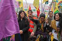 Milano, corteo per chiedere la liberazione del leader del Pkk, Abdullah Ocalan, in carcere dal 1999. A sinistra,  Dilek Ocalan nipote di Ocalan.<br /> Milan, march to demand the release of PKK leader Abdullah Ocalan, in prison since 1999. On the left,  Ocalan niece Dilek &Ouml;calan.<br /> Feb 11,2017