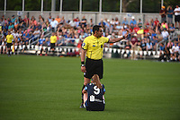 Kansas City, MO - Saturday May 07, 2016: The referee stops the game in the first half between FC Kansas City and Houston Dash during a regular season National Women's Soccer League (NWSL) match at Swope Soccer Village. Houston won 2-1.
