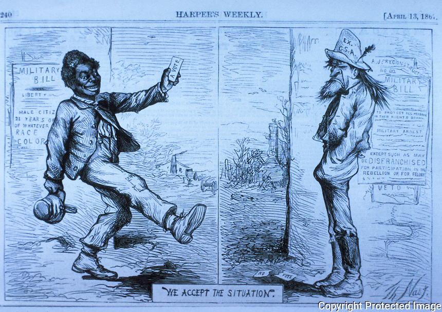 Technology:  T. Nast. Reconstruction.  HARPER'S WEEKLY, Apr. 13, 1867.  Reference only.