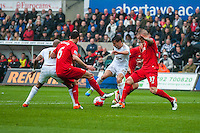 Jack Cork of Swansea City  turns to strike the ball during he Barclays Premier League match between Swansea City and Liverpool played at the Liberty Stadium, Swansea  on May the 1st  2016