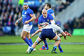 2nd February 2019, Murrayfield Stadium, Edinburgh, Scotland; Guinness Six Nations Rugby Championship, Scotland versus Italy; Sergio Parisse of Italy is tackled by Jamie Ritchie of Scotland