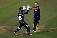 Graham Wagg of Glamorgan celebrates taking the wicket of Simon Harmer during Glamorgan vs Essex Eagles, Vitality Blast T20 Cricket at the Sophia Gardens Cardiff on 7th August 2018