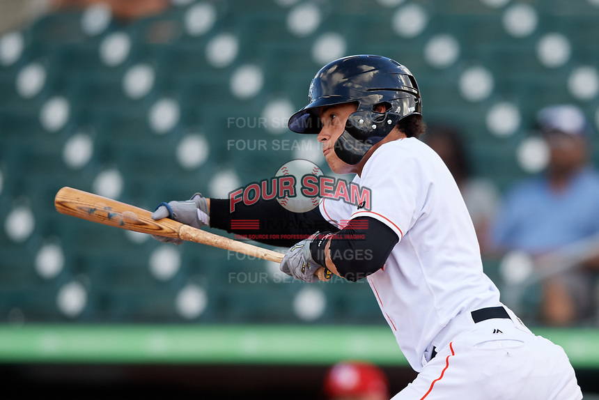 Jupiter Hammerheads shortstop Bryson Brigman (1) squares around to bunt during a game against the Palm Beach Cardinals on August 4, 2018 at Roger Dean Chevrolet Stadium in Jupiter, Florida.  Palm Beach defeated Jupiter 7-6.  (Mike Janes/Four Seam Images)