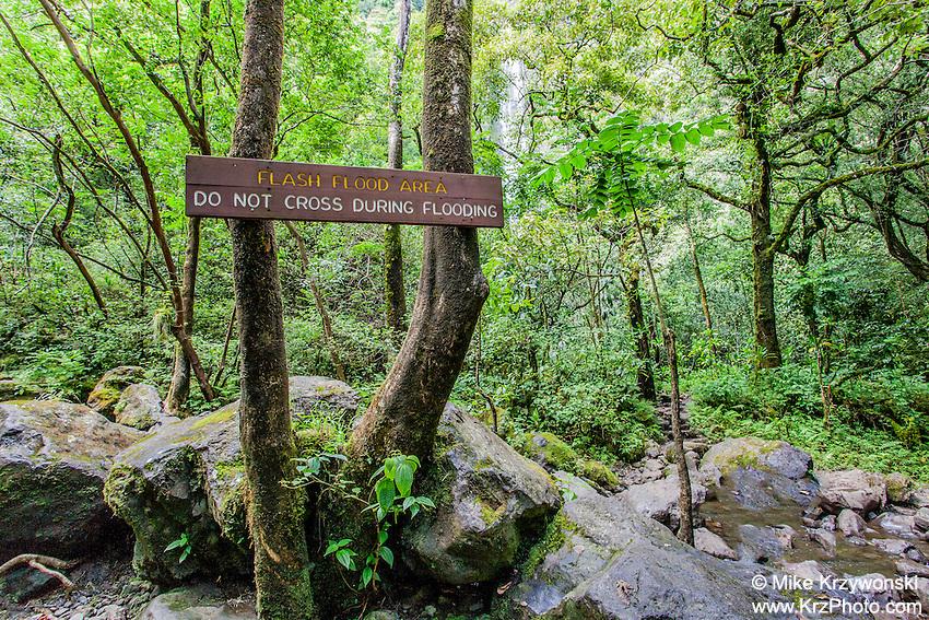 Flash flood warning sign near river on Pipiwai hiking trail, Haleakala National Park, Kipahulu, Maui