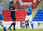 St Johnstone v York City...19.07.14  <br /> Saints trialist Mark Millar has a laugh with ref Euan Anderson<br /> Picture by Graeme Hart.<br /> Copyright Perthshire Picture Agency<br /> Tel: 01738 623350  Mobile: 07990 594431