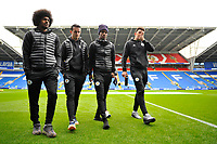 (L-R) Hamza Choudhury, Ben Chilwell, Demarai Gray and Harry Maguire of Leicester City arrive for the Premier League match between Cardiff City and Leicester City at Cardiff City Stadium in Cardiff, Wales, UK. Saturday 3rd November 2018