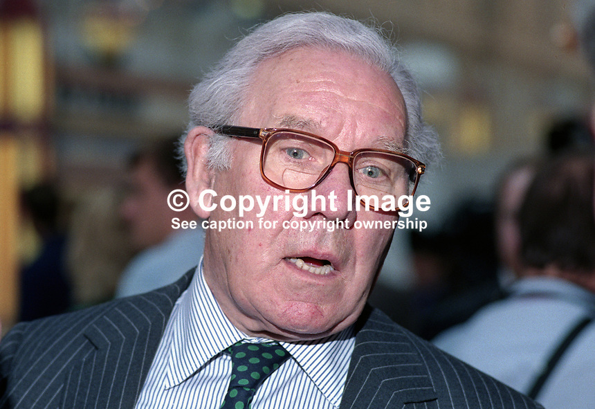 Lord King, aka Baron King of Wartnaby, aka, Sir John King, chairman, British Airways, at Labour Party annual conference 1990. 19901007007.<br /> <br /> Copyright Image from Victor Patterson,<br /> 54 Dorchester Park, <br /> Belfast, UK, BT9 <br /> <br /> t1: +44 28 9066 1296 (from Rep of Ireland 048 90661296)<br /> t2: +44 28 9002 2446 (from Rep of Ireland 048 9002 2446)<br /> <br /> m: +44 7802 353836<br /> <br /> e: victorpatterson@me.com<br /> www.victorpatterson.com<br /> <br /> Please see my Terms and Conditions of Use at www.victorpatterson.com. It is IMPORTANT that you familiarise yourself with them.<br /> <br /> Images used on the Internet must be visibly watermarked i.e. &copy; Victor Patterson<br /> within the body of the image and copyright metadata must not be deleted. Images <br /> used on the Internet have a size restriction of 4kbs and will be chargeable at current<br />  NUJ rates unless agreed otherwise.<br /> <br /> This image is only available for the use of the download recipient i.e. television station, newspaper, magazine, book publisher, etc, and must not be passed on to any third <br /> party. It is also downloaded on condition that each and every usage is notified within 7 days to victorpatterson@me.com<br /> <br /> The right of Victor Patterson to be identified as the author is asserted in accordance with The Copyright Designs And Patents Act (1988). All moral rights are asserted.
