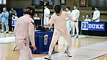 11 February 2017: Duke's Dakota Nollner (right) competes against Boston College's Ethan Grab (left) in Epee. The Duke University Blue Devils hosted the Boston College Eagles at Card Gym in Durham, North Carolina in a 2017 College Men's Fencing match. Duke won the dual match 18-9 overall, 9-0 Foil, and 6-3 Saber. Boston College won Epee 6-3.