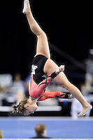 Nebraska's Jennifer Lauer competes on the balance beam during the semifinals of the NCAA women's gymnastics championships, Friday, April 17, 2015 in Fort Worth, Tex.(Mo Khursheed/TFV Media via AP Images)