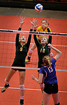 RAPID CITY, SD: NOVEMBER 18:  Riley Grandpre #5 and Sydney Schell #12 of Northwestern try to block a kill attempt by Laurie Rogers @#13 of Warner during the 2017 South Dakota State Class B Volleyball Championship Saturday evening at Barnett Arena in Rapid City, S.D.   (Photo by Dick Carlson/Inertia)