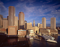 Harbor skyline at Rowes Wharf, Boston, MA