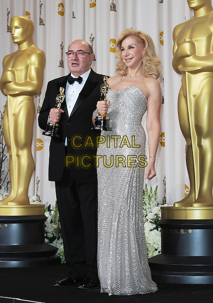 Dante Ferretti and Francesca Lo Schiavo.84th Annual Academy Awards held at the Hollywood & Highland Center, Hollywood, California, USA..February 26th, 2012.oscars full length black award trophy winner tuxedo silver beads beaded strapless .CAP/ADM/SLP/JO.©James Orken/ SLP/AdMedia/Capital Pictures.