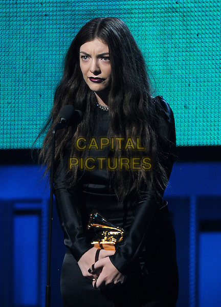 LOS ANGELES, CA - JANUARY 26 : Lorde, winner of the Best Pop Vocals Performance for 'Royals' onstage at The 56th Annual GRAMMY Awards at Staples Center on January 26, 2014 in Los Angeles, California.<br /> CAP/MPI/PG<br /> &copy;PGFMicelotta/MediaPunch/Capital Pictures