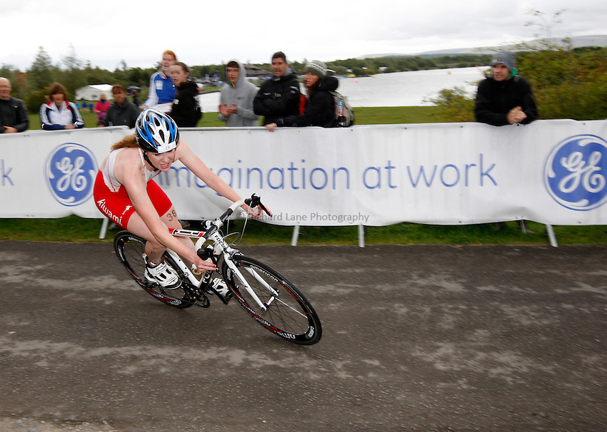 Photo: Richard Lane/Richard Lane Photography. GE Parc Bryn Bach Triathlon. 19/09/2010. Lucy Hall cycling during the Elite womens' race.