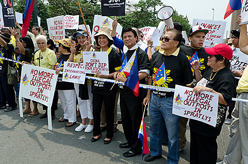 Filipino community rally in New York City, July 8, 2011, against China's plan to drill oil within the 200 mile exclusive economic zone of the Philippines.