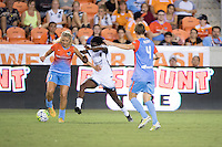 Houston, TX - Saturday July 16, 2016: Melissa Henderson, Shade Pratt during a regular season National Women's Soccer League (NWSL) match between the Houston Dash and the Portland Thorns FC at BBVA Compass Stadium.