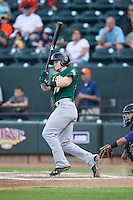 Clint Frazier (20) of the Lynchburg Hillcats follows through on his swing against the Winston-Salem Dash at BB&T Ballpark on May 29, 2015 in Winston-Salem, North Carolina.  The Dash defeated the Hillcats 8-1.  (Brian Westerholt/Four Seam Images)
