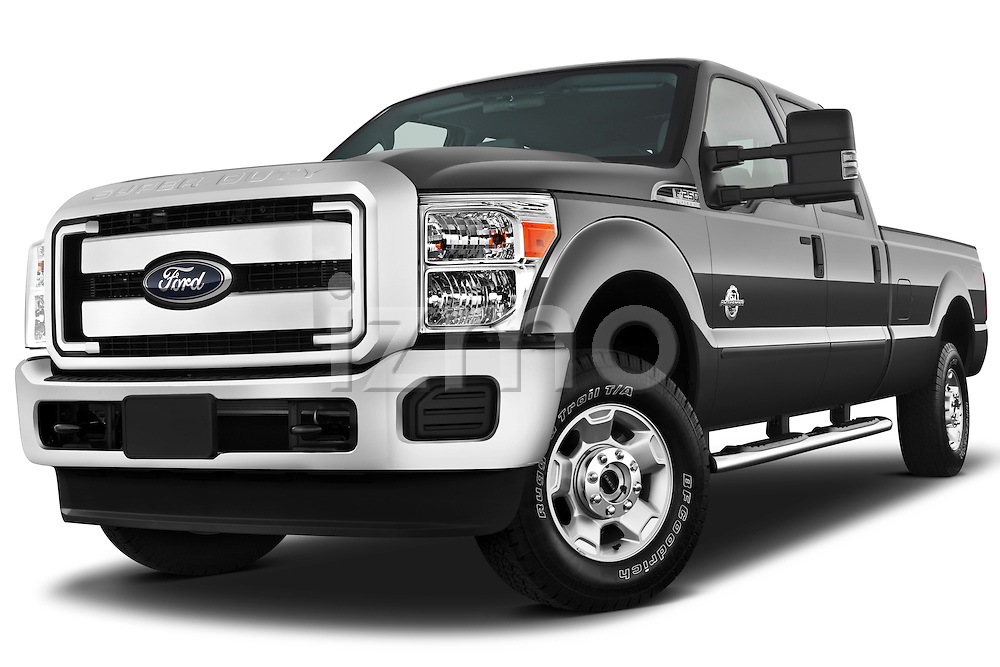 Low aggressive front three quarter view of a 2011 Ford F-250 Crew Cab 4x4.