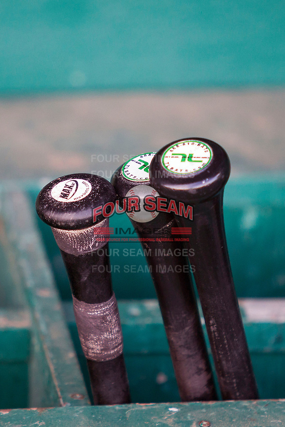 Frisco Roughriders bat rack at the Texas League baseball game on August 22, 2013 at the Nelson Wolff Stadium in San Antonio, Texas. Frisco defeated San Antonio 2-1. (Andrew Woolley/Four Seam Images)