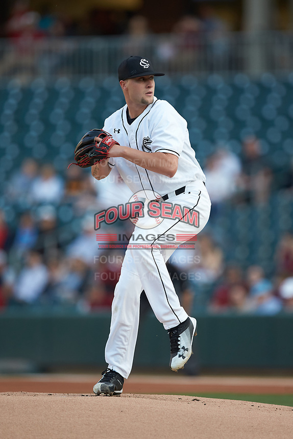 South Carolina Gamecocks starting pitcher Logan Chapman (22) in action against the North Carolina Tar Heels at BB&T BallPark on April 3, 2018 in Charlotte, North Carolina. The Tar Heels defeated the Gamecocks 11-3. (Brian Westerholt/Four Seam Images)