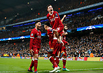 Liverpool's Mohamed Salah celebrates scoring his sides opening goal with Andy Robertson during the Champions League Quarter Final 2nd Leg match at the Etihad Stadium, Manchester. Picture date: 10th April 2018. Picture credit should read: David Klein/Sportimage