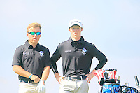 Craig Ross and Craig Howie (SCO) on the 12th tee during the Home Internationals day 2 foursomes matches supported by Fairstone Financial Management Ltd. at Royal Portrush Golf Club, Portrush, Co.Antrim, Ireland.  13/08/2015.<br /> Picture: Golffile   Fran Caffrey<br /> <br /> <br /> All photo usage must carry mandatory copyright credit (© Golffile   Fran Caffrey)