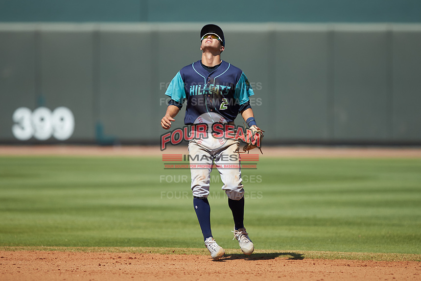Lynchburg Hillcats shortstop Tyler Freeman (2) tracks a pop fly during the game against the Winston-Salem Rayados at BB&T Ballpark on June 23, 2019 in Winston-Salem, North Carolina. The Hillcats defeated the Rayados 12-9 in 11 innings. (Brian Westerholt/Four Seam Images)