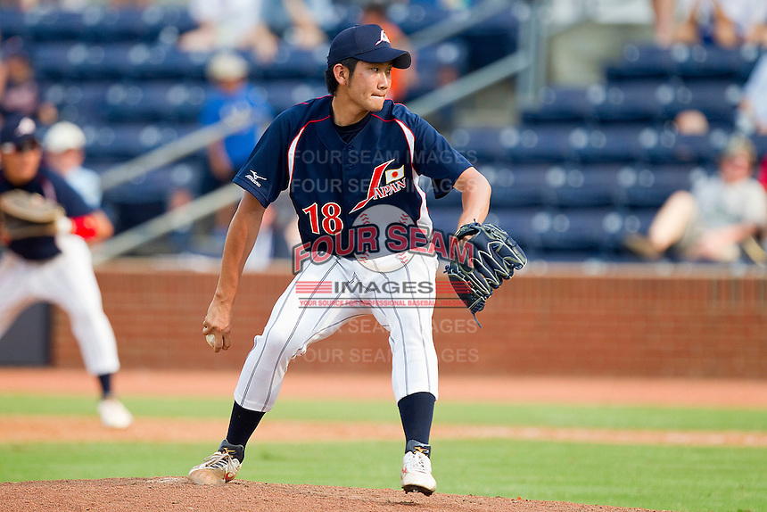 Tomoyuki Sugano #18 of the Japan Collegiate National Team in action against the USA Baseball Collegiate National Team at the Durham Bulls Athletic Park on July 3, 2011 in Durham, North Carolina.  USA defeated Japan 7-6.  (Brian Westerholt / Four Seam Images)