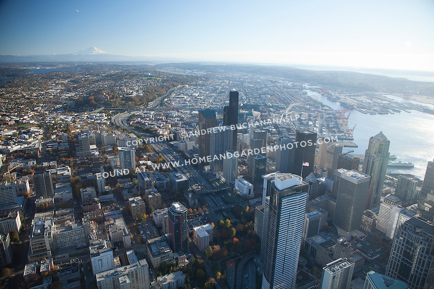 Aerial photo of the Seattle skyline and waterfront with Mount Rainier in the background
