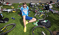 24 APR 2011 - NICE, FRA - Will Clarke relaxes before the start of the  first round of the men's 2011 French Grand Prix triathlon series (PHOTO (C) NIGEL FARROW)
