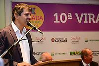 SÃO PAULO. SP 07/05/2014. VIRADA CULTURAL 2014 O Prefeito Fernando Haddad, concede entrevista coletiva sobre a 10ª Virada Cultural que acontece nos dias 17 e 18 de maio na Cidade de São Paulo, na sede da prefeitura região central nesta Quarta-Feira 07 ( Foto : Bruno Ulivieri / Brazil Photo Press )