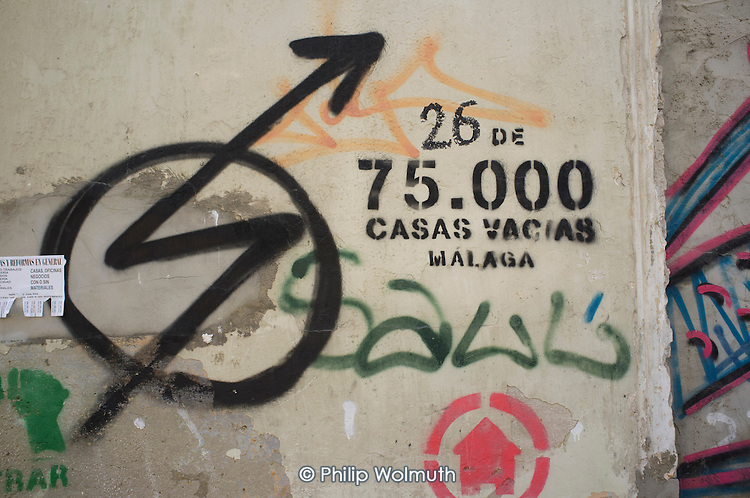 Empty house marked by campaigners as number 26 of 75,000 left vacant in Malaga, Spain.