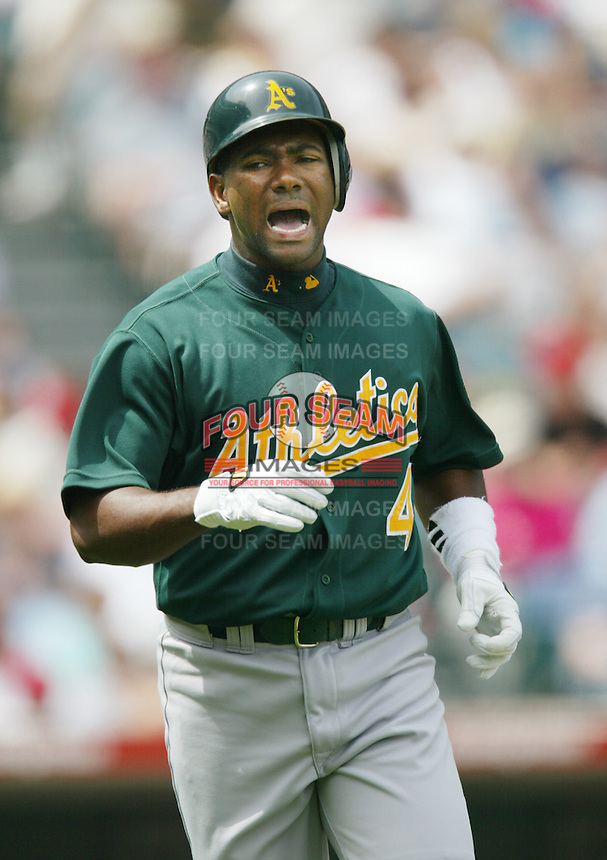 Miguel Tejada of the Oakland Athletics runs the bases during a 2002 MLB season game against the Los Angeles Angels at Angel Stadium, in Anaheim, California. (Larry Goren/Four Seam Images)