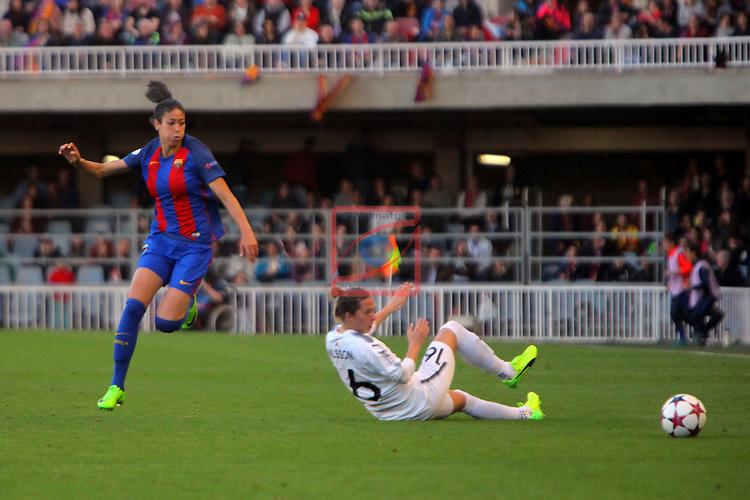 UEFA Women's Champions League 2016/2017.<br /> Quarter Finals.<br /> FC Barcelona vs FC Rosengard: 2-0.<br /> Leila Ouahabi vs Lina Nilsson.