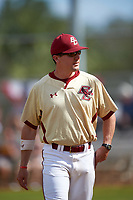 Boston College Eagles head coach Mike Gambino (5) after the lineup exchange before a game against the Central Michigan Chippewas on March 8, 2016 at North Charlotte Regional Park in Port Charlotte, Florida.  Boston College defeated Central Michigan 9-3.  (Mike Janes/Four Seam Images)