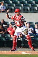 Arkansas Travelers catcher Jett Bandy (27) during a game against the San Antonio Missions on May 25, 2014 at Dickey-Stephens Park in Little Rock, Arkansas.  Arkansas defeated San Antonio 3-1.  (Mike Janes/Four Seam Images)