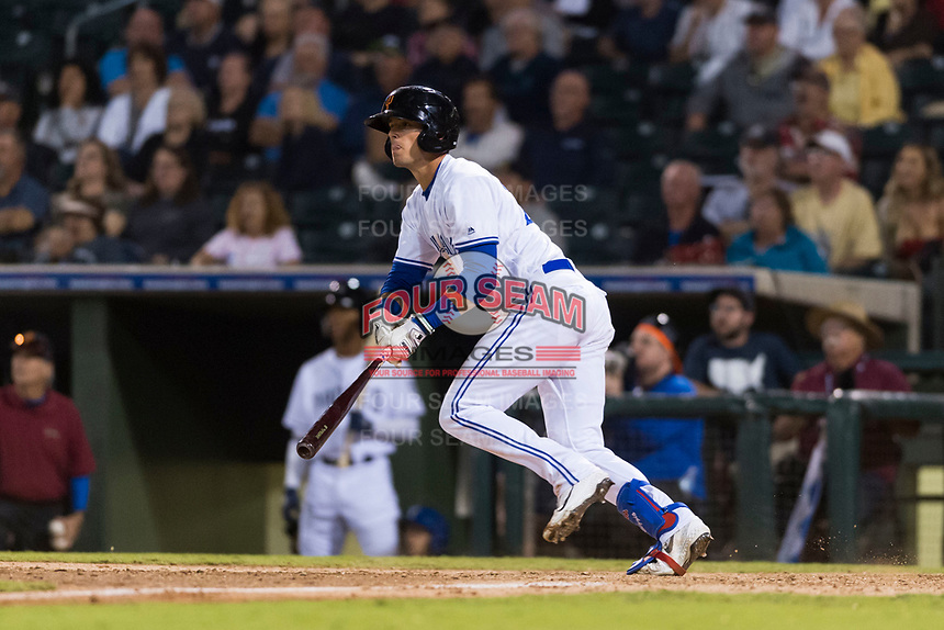AFL West left fielder Cavan Biggio (26), of the Surprise Saguaros and Toronto Blue Jays organization, starts down the first base line during the Arizona Fall League Fall Stars game at Surprise Stadium on November 3, 2018 in Surprise, Arizona. The AFL West defeated the AFL East 7-6 . (Zachary Lucy/Four Seam Images)