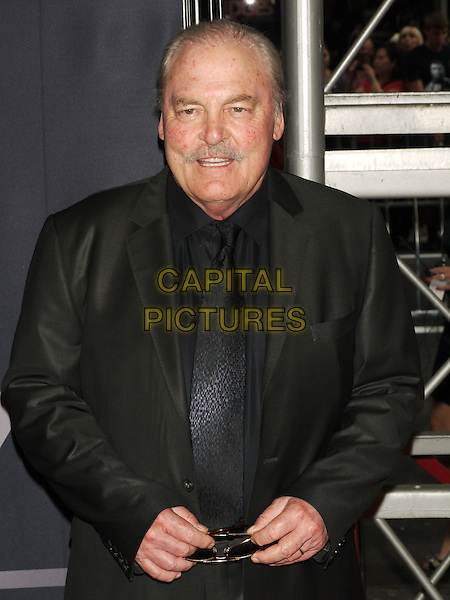 "Stacey Keach.The World Premiere of ""The Bourne Legacy"" at the Ziegfeld Theatre, New York, NY, USA..July 30th, 2012.half length black suit jacket shirt tie moustache mustache facial hair .CAP/LNC/TOM.©LNC/Capital Pictures."