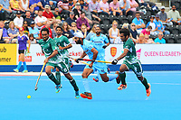 Pakistan defenders Tasawar Abbas and Ali Shan close down India's Talwinder Singh during the Hockey World League Semi-Final 5-8th place match between Pakistan and India at the Olympic Park, London, England on 24 June 2017. Photo by Steve McCarthy.